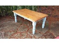 Painted Shabby Chic Pine Coffee Table in Duck Egg Stripped Pine Top
