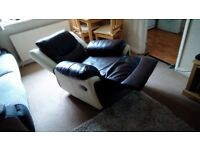 Brown and cream leather recliner armchair very good condition