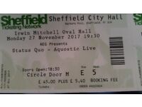3 tickets for status Quo acoustic live at city hall sheffield monday the 27th november 2017