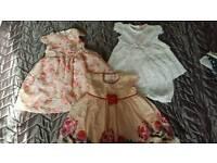 3 BABY GIRL DRESSES 6-9MONTHS