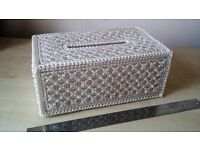 Handmade Tissue Box Sparkling Bead Hand Crafted Patterned Padded Inside