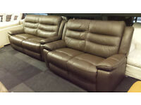 EX-DISPLAY SCS BUYBACK BROWN LEATHER 3+2 SEATER SET STATIC