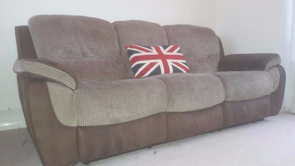 HARVEYS 2 AND 3 SEATER RECLINING SUEDE AND FABRIC PAIR OF SOFAS ( harveys carter range)