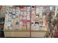 2 x 1 metre card display racks remaining . £30 each .