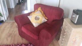 Armchair in Burgundy velour in excellent condition