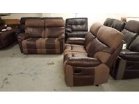 NEW ScS RALPH BROWN 2 SEATER ELECTRIC & 2 SEATER MANUAL RECLINER SOFAS Can Deliver