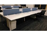 6 person white bench desk system with extras