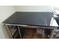 REDUCED AGAIN! BLACK GLASS AND CHROME COMPUTER DESK
