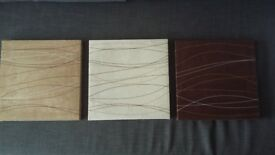 Set of 3 square wall canvases brown cream and coffee