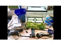 Aquarium starter kit small fish tank and accessories