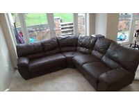 Brown leather corner sofa couch