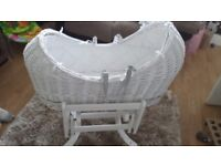 White Wicker Moses Basket with movable rocking stand