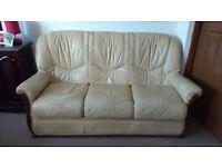 Cream sofa leathers 3 seats