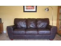 Brown leather 3-seater sofa with optional 2-seater, if you like...