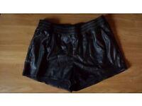 H&M black leather like shorts-size 12