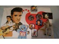 Job lot of Elvis Presley memorabilia (TOYS, PATCHES, PILLOW CASE, CARDS ETC)