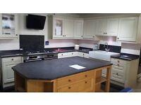 Crown kitchen & Island with Granite worktops, Belfast sink & Franke filterflow tap