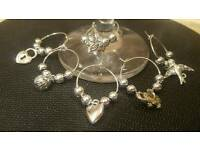Set of 6 wine glass charms - silver coloured