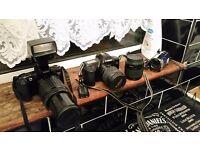 job lot of cameras and video camera