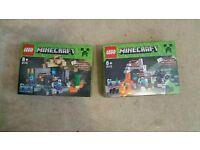Mincraft lego box boxes x2 lot