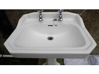 Heritage brand Bathroom sink and pedestal, British made with taps.