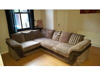Immaculate condition DFS Divine Mocha left hand corner Sofa & Pouffe