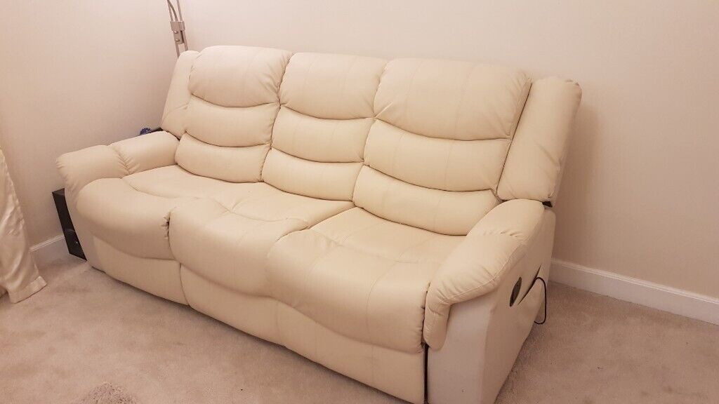 Peachy Soldthree Seater Leather Sofa Cream Reclining Heated Massage In Craigleith Edinburgh Gumtree Unemploymentrelief Wooden Chair Designs For Living Room Unemploymentrelieforg