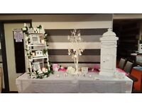 candy cart hire, wedding supplies hire, centerpieces, post boxes, venue dressing, chair covers