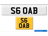 S6 OAB Audi S6 private cherished personalised personal registration plate number personalised