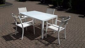 White aluminium/glass garden table and 4 chair set