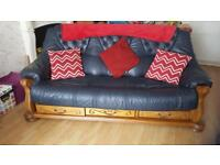 Leather sofa, 2 x chairs and footstool