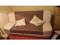 Cream & brown compact sofa bed in great condition with storage space
