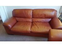 Beautiful brown leather settee and 2 large matching arm chairs