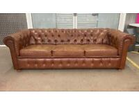 Stunning pair of leather chesterfield 3 seater sofas £900 the pair
