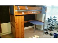 Childs/Youths High Sleeper single Bed with desk and wardrobe (Stompa Casa 3) Plus matching wardrobe