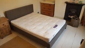Kingsize bed frame, headboard and mattress.