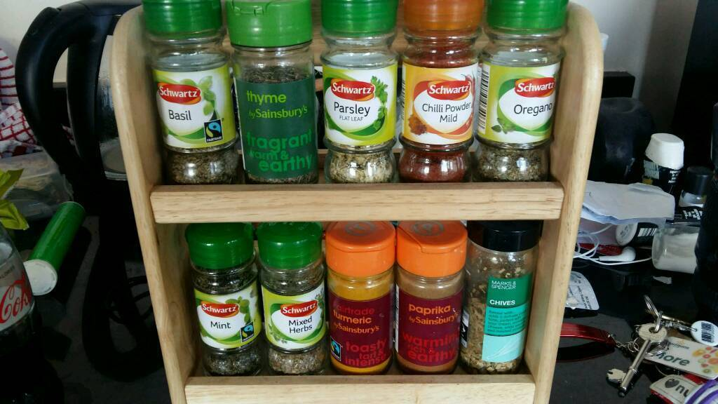 Spice rack and various spices