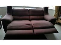 Two x 3 seater sofa. Emporio power recliner in chocolate brown. Cost £2,590 new.