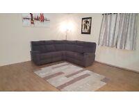 Jemima grey fabric electric recliner corner sofa