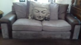Large fabric sofa .mink colour with soft leather arms