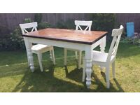 PINE FARMHOUSE STYLE DINING TABLE WITH WALNUT STAIN TABLE TOP AND WHITE TURNED LEGS