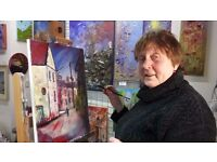 Art lessons - drawing and painting with palette knife etc.