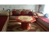 Red and Gold Exotic Moroccan suite, including side tables, corner table, and main table.