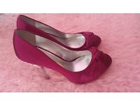 Faith pink silk heels with silver diamonte heels size 5 partywear wedding shoes crystal diamond