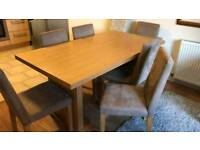 Oak Style Table & 6 Faux Suede Chairs