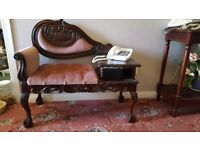 Vintage phone table and matching seat