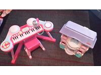 Girls Piano, Drums, Microphone Set & Big Dools House