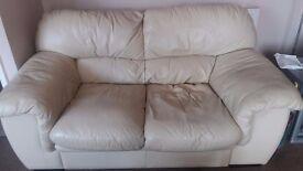 2 Seater Leather Cream Settee