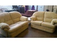 2x 2 seater beige sofas