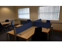 Complete set of office furniture: 4 x desks, chairs, filing cabinets, shelves & conference table
